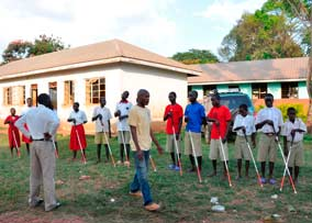 Blind students learning to use their white canes.